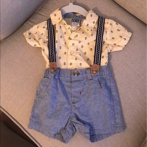Little Lad Onesie with shorts and suspenders set